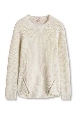 Esprit / Shimmering, cotton blend ribbed sweater