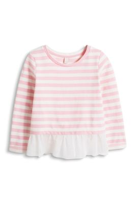 Esprit / Striped sweatshirt with a tulle trim