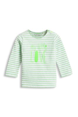 Esprit / Striped  top with print, 100% organic cotton