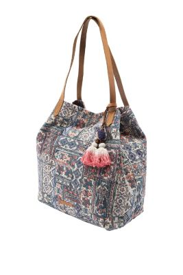 Esprit / Print shopper with leather handles