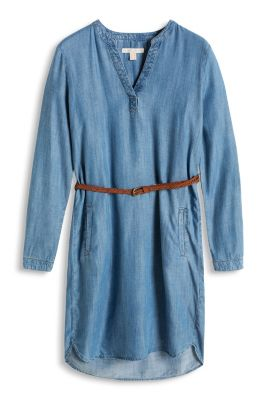 Esprit / Fließendes Kleid im Denim-Look