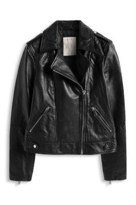 Esprit / Blød læderjakke med flettede detaljer