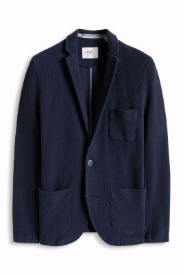 Esprit / Cotton sweat blazer with a waffle texture