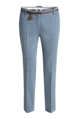 Esprit / Stretch printed cotton trousers with belt