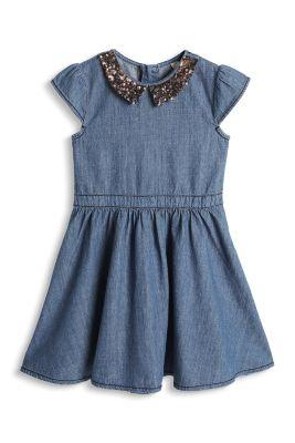 Esprit / Jeanskleid mit Pailletten-Kragen