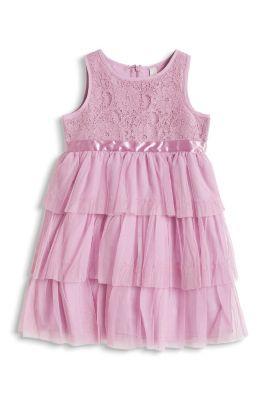 Esprit / Glänzendes Spitzen Kleid mit Netz Rock
