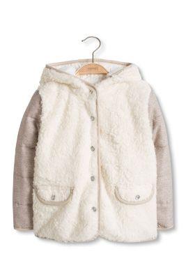 Esprit / Wattierte Fake Fur Jacke mit Material-Mix